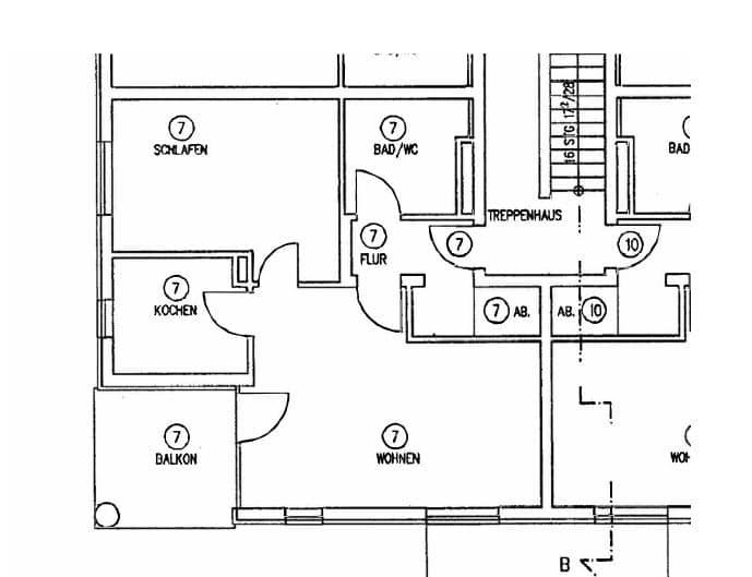 Top sanierte 2 Zi. Wohnung mit überdachtem Balkon - Grundriss