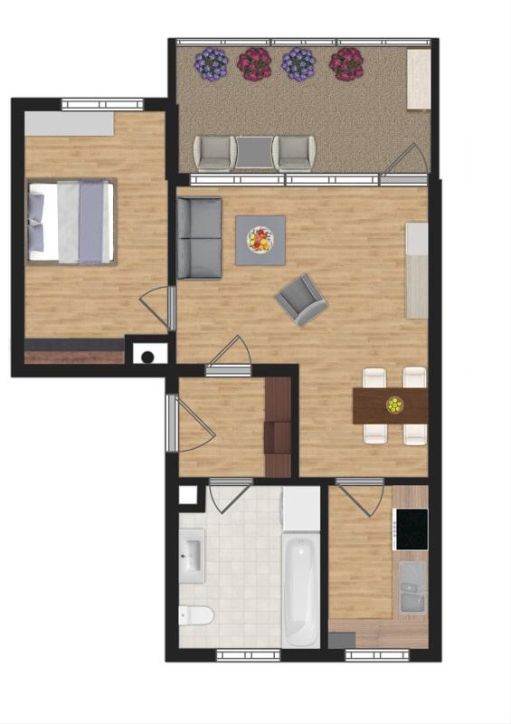 Attraktive, sehr gepflegte 2 ZKB Wohnung mit großer Loggia in gewachsener Lage von Ottobrunn - Grundriss
