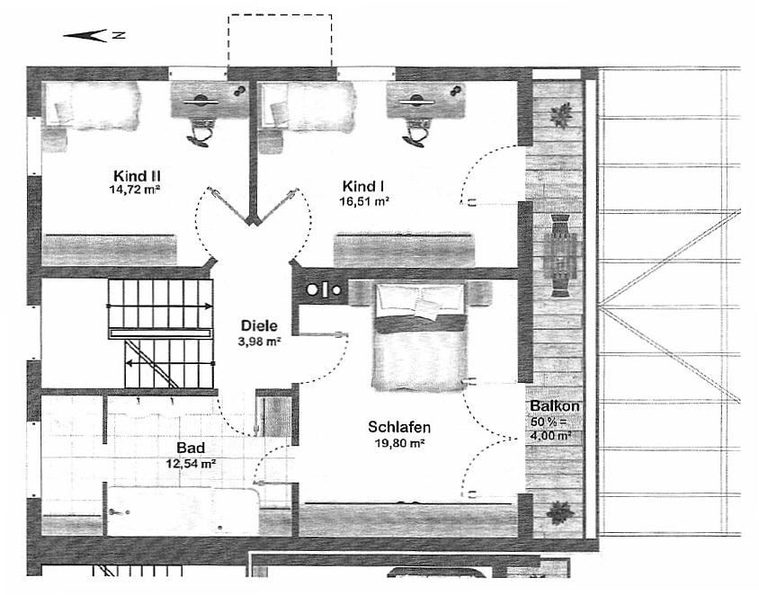 Große. helle Doppelhaushälfte mit Wintergarten in ruhiger Lage von Brunnthal / Faistenhaar - Grundriss OG