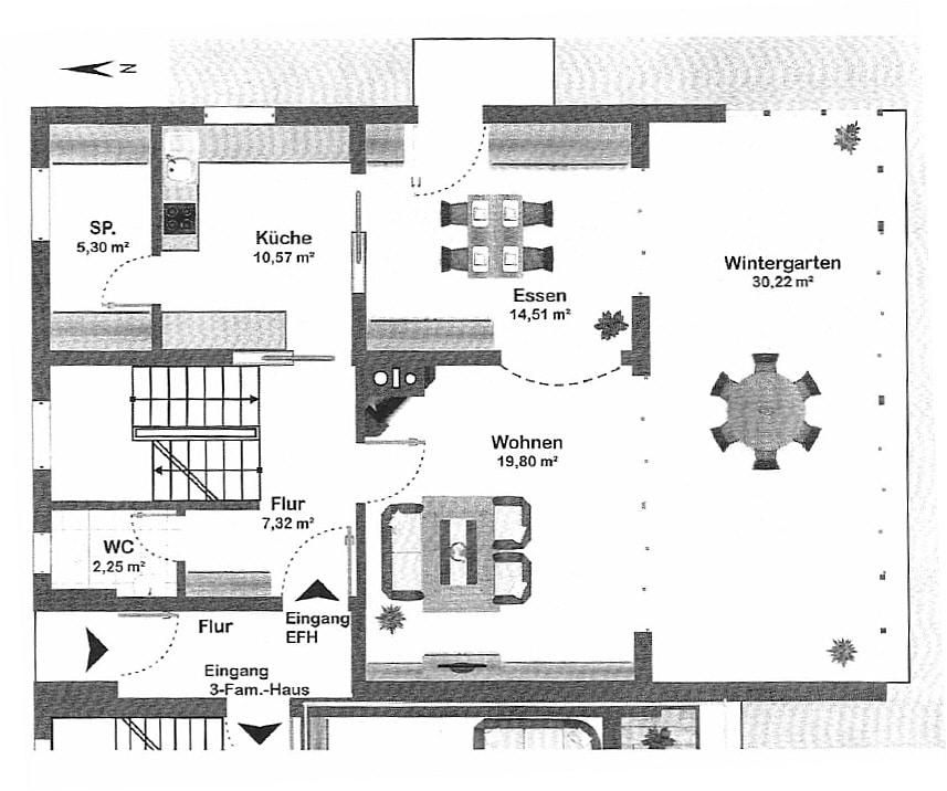 Große. helle Doppelhaushälfte mit Wintergarten in ruhiger Lage von Brunnthal / Faistenhaar - Grundriss EG