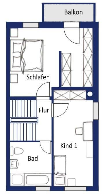 Großes und familienfreundliches Reiheneckhaus in Höhenkirchen-Siegertsbrunn - Grundriss OG
