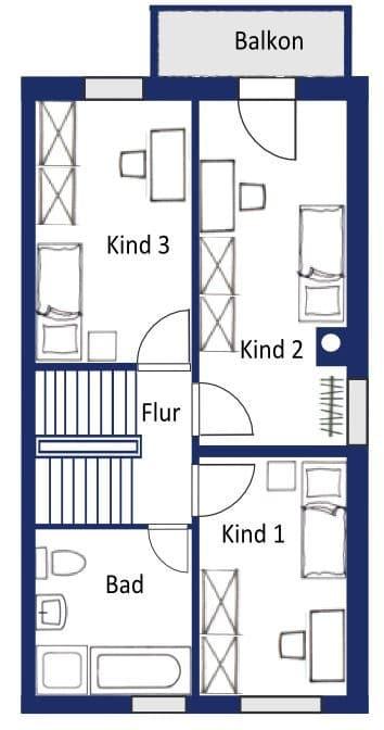 Großes und familienfreundliches Reiheneckhaus in Höhenkirchen-Siegertsbrunn - Grundriss OG 3 Zimmer-Variante