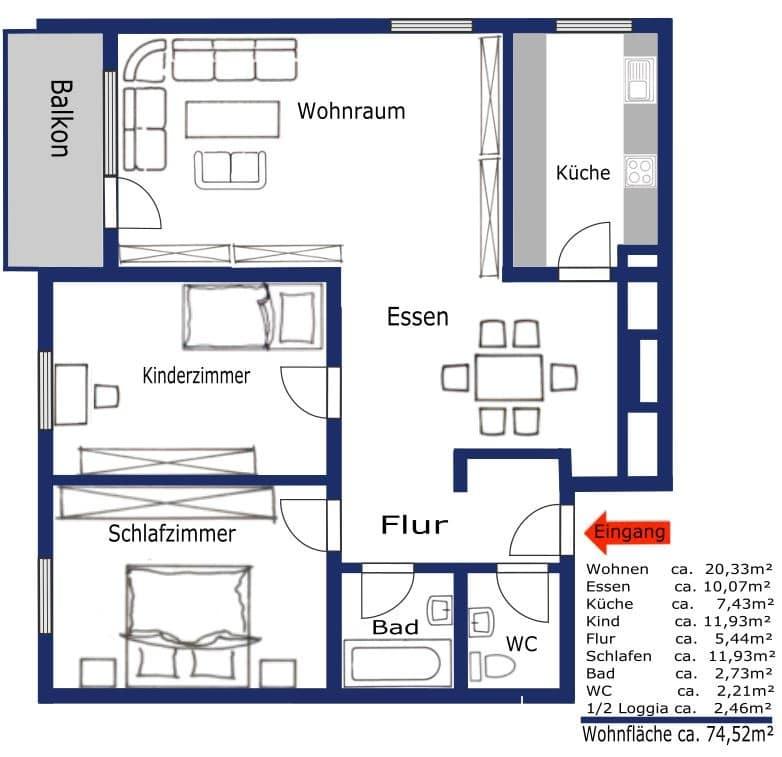 Attraktive 3,5 Zimmerwohnung mit Westbalkon in ruhiger Lage von Schwabing - Grundriss