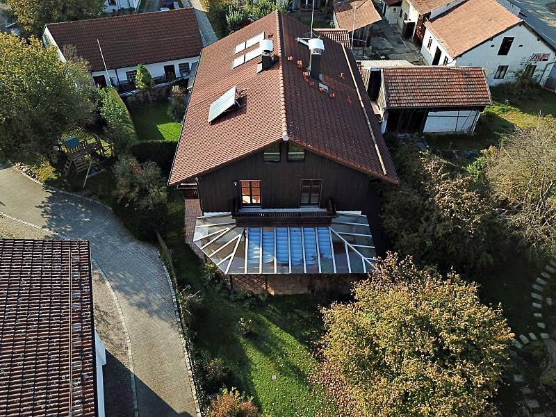 Handwerker aufgepasst: DHH mit großem Grundstück im Ortszentrum von Höhenkirchen - Luftbild