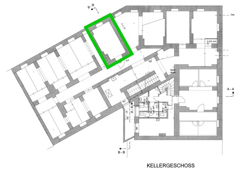 Große ebenerdige Gewerbeeinheit im EG mit Schaufensterfront direkt am Tegernseer Platz zum 01.01.2020 - Grundriss_UG