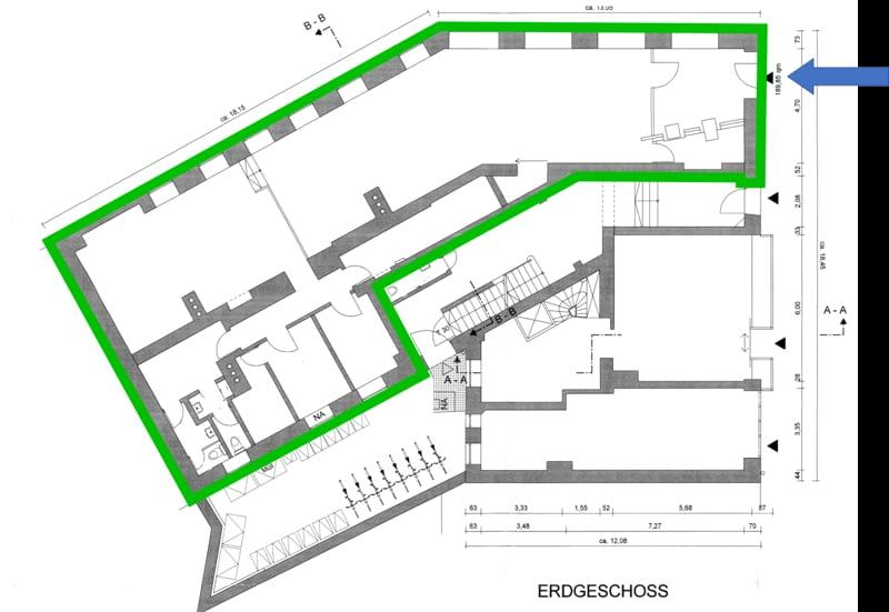 Große ebenerdige Gewerbeeinheit im EG mit Schaufensterfront direkt am Tegernseer Platz zum 01.01.2020 - Grundriss_EG