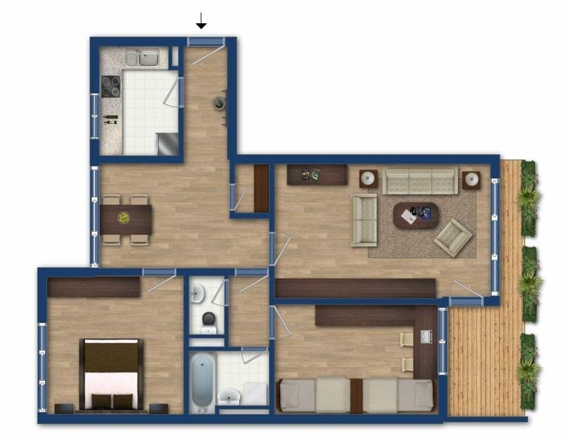 Vermietete, attraktive 3 Zimmerwohnung mit Südbalkon in ruhiger Lage von Ottobrunn - Grundriss