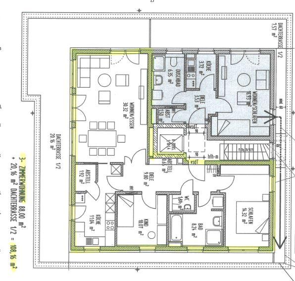 Perfekte 3 Zimmer-Dachterrassenwohnung in Höhenkirchen-Siegertsbrunn - Grundriss