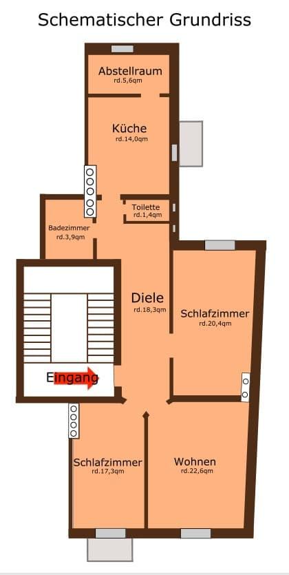 Große, vollständig sanierte 3 Zimmer Altbauwohnung in direkter Nähe am Rotkreuzplatz / Neuhausen - Grundriss