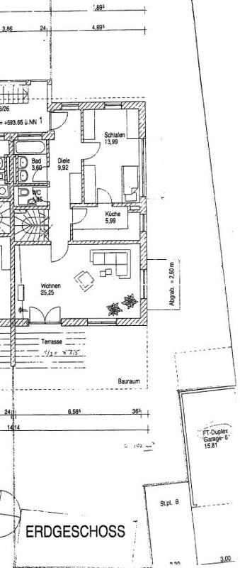2,5 ZKB Maisonettewohnung mit großem Südwestgarten in ruhiger Lage von Brunnthal - Grundriss EG