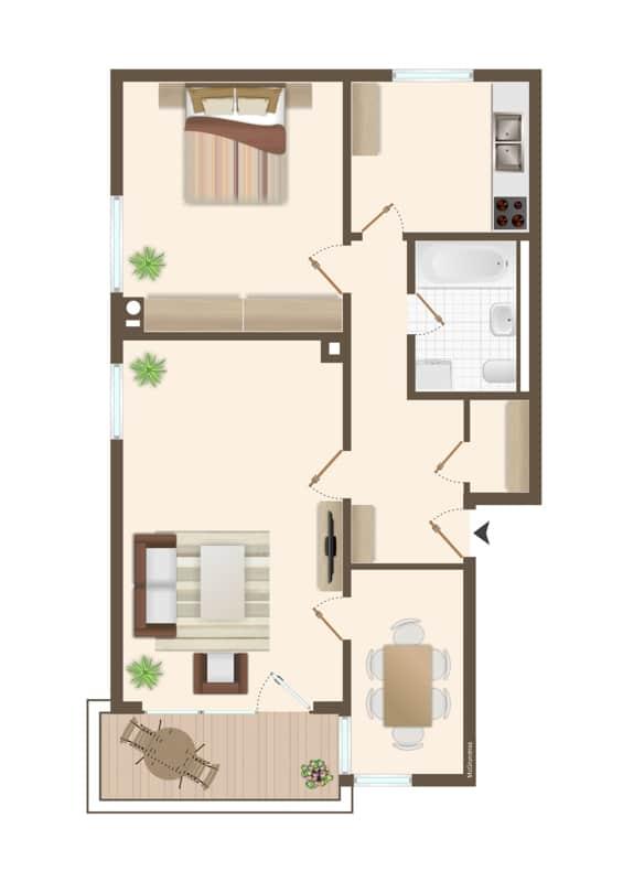 Ruhige, helle 2,5 Zimmerwohnung mit Südwest-Balkon in zentraler Lage von München / Ramersdorf - Grundriss
