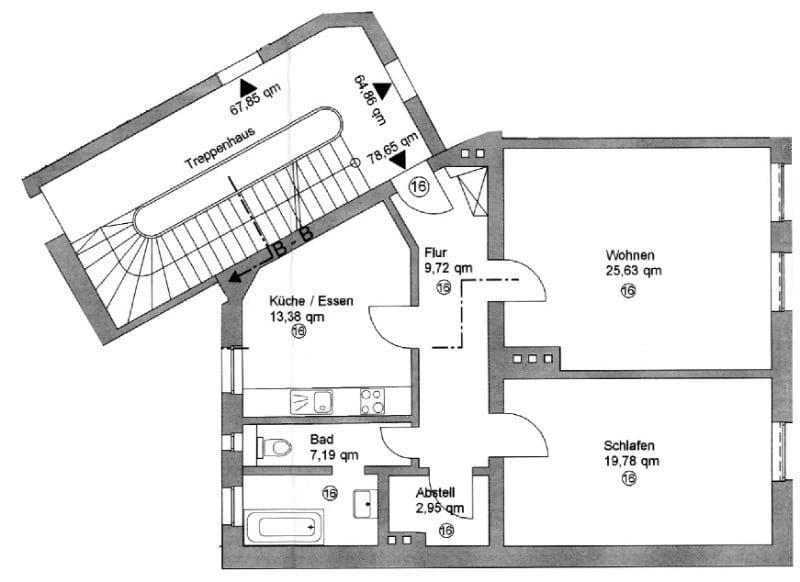 2 Zimmer XXL Wohnung direkt am Tegernseer Platz in Obergiesing zum 01.11.2020 - Grundriss