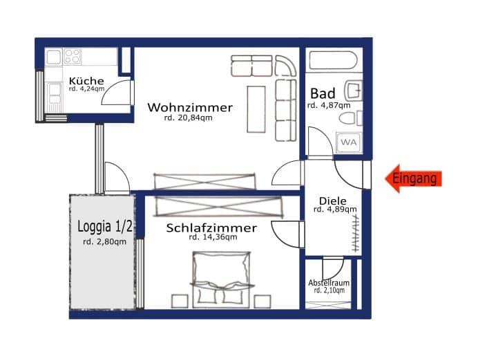 Helle 2 Zimmer Wohnung mit sehr gutem Grundriss und Südwestloggia in Ottobrunn - Grundriss