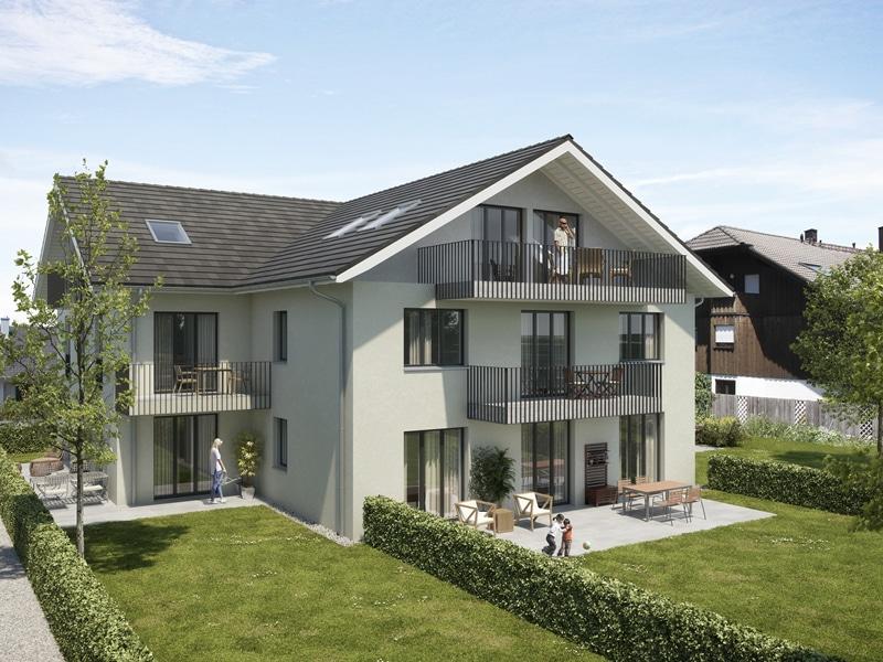 Wohnen mit Stil! Exklusive Neubau 4 ZKB Penthousewohnung mit 3 Balkonen & eigenem Gartenanteil in Taufkirchen - Außenbild 2