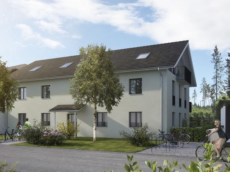 Wohnen mit Stil! Exklusive Neubau 4 ZKB Penthousewohnung mit 3 Balkonen & eigenem Gartenanteil in Taufkirchen - Außenbild 3