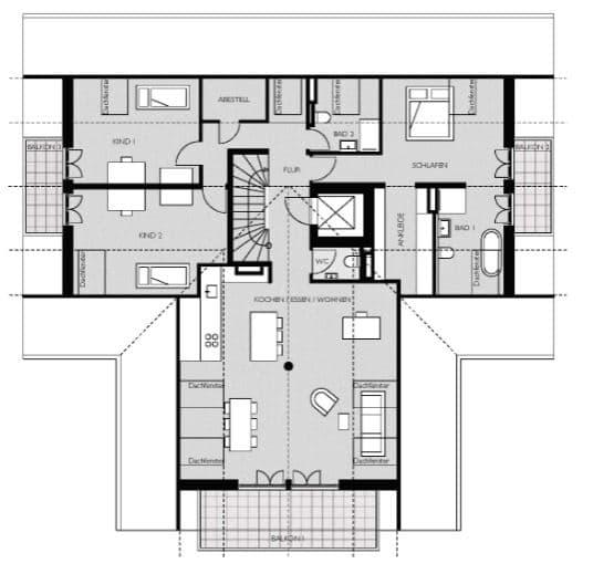 Wohnen mit Stil! Exklusive Neubau 4 ZKB Penthousewohnung mit 3 Balkonen & eigenem Gartenanteil in Taufkirchen - Grundriss Wohnung