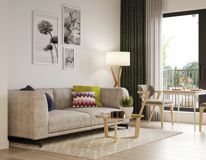 Neubau - Moderne voll möbilierte 2 Zimmerwohnung für Kapitalanleger - Wohnzimmer_PURE