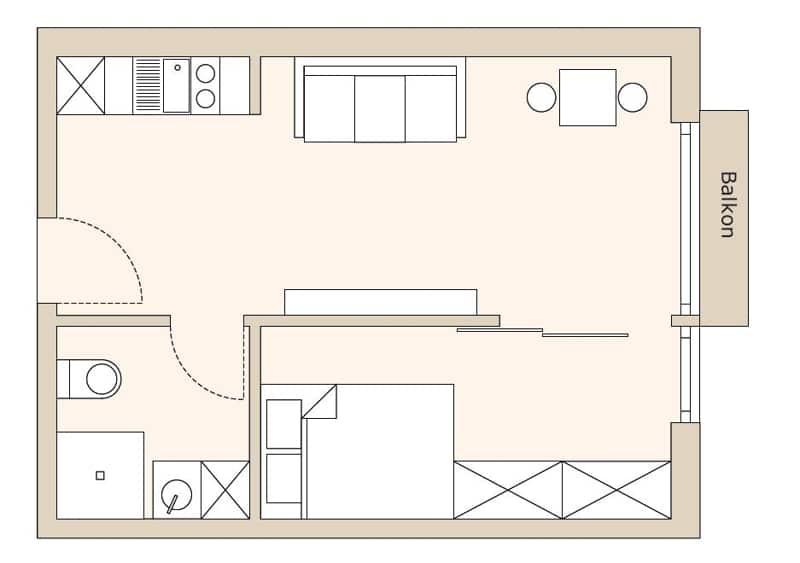Neubau - Moderne voll möbilierte 2 Zimmerwohnung für Kapitalanleger - Grundriss