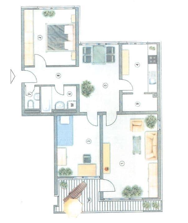 Helle, gepflegte 3 ZKB Wohnung mit Westbalkon in Ottobrunn - Grundriss