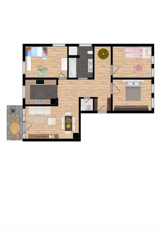 Großzügige 4 Zimmer Erdgeschosswohnung mit zusätzlich 2 Hobbyräumen in Grasbrunn / Neukeferloh - Grundriss EG
