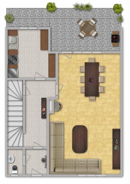Modernisiertes Reihenmittelhaus in Riemerling mit günstigem Erbbauzins - Grundriss EG
