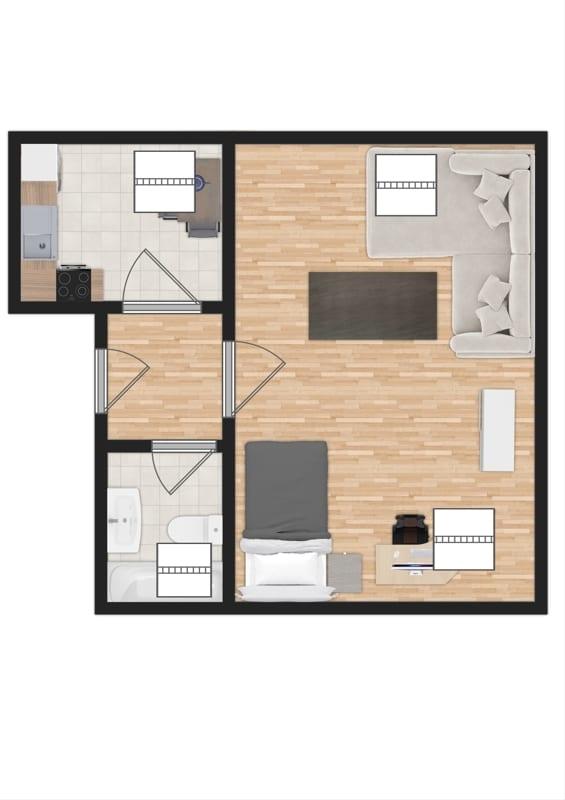 Für Kapitalanleger - Vermietete 1 ZKB Dachgeschosswohnung in ruhiger Lage von Höhenkirchen - Grundriss