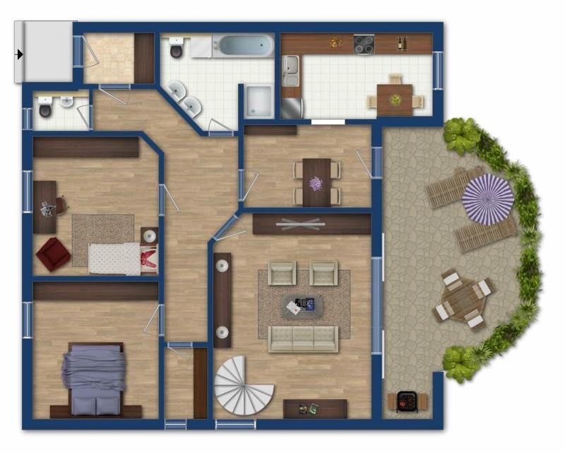 Attraktive große 3,5 ZKB Gartenwohnung plus Hobbyraum in Pliening / Gelting - Grundriss_EG
