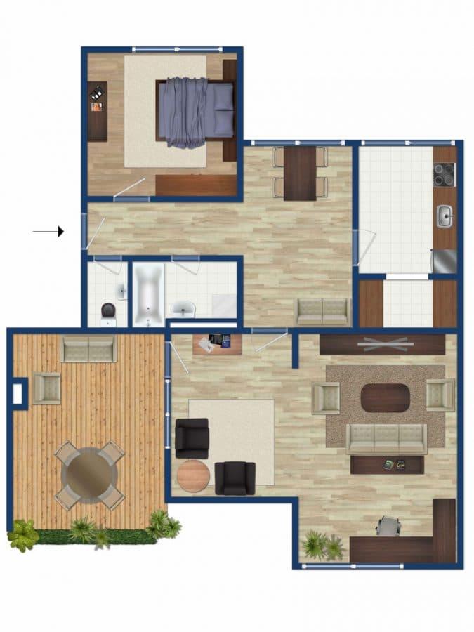 Traumhafter Panoramablick: XXL 2,5ZKB Dachterrassen Wohnung für Singles / Paare in ruhiger Lage von Ottobrunn - Grundriss 2,5ZKB