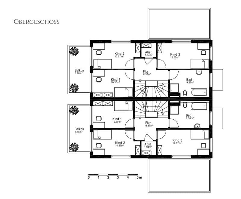 Villenhälfte in klassischer Architektur in bevorzugter Lage in München-Trudering - Grundriss OG