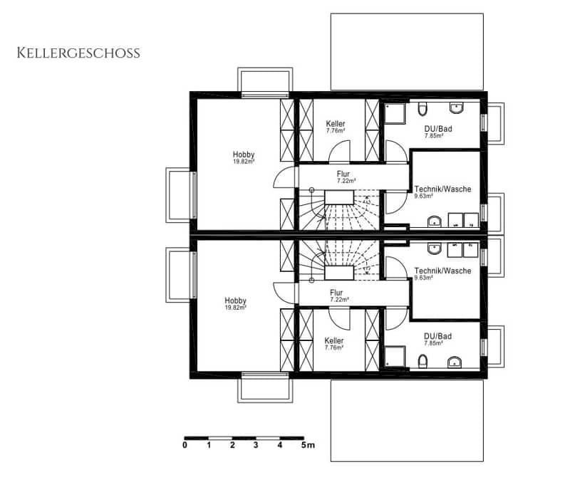 Villenhälfte in klassischer Architektur in bevorzugter Lage in München-Trudering - Grundriss UG