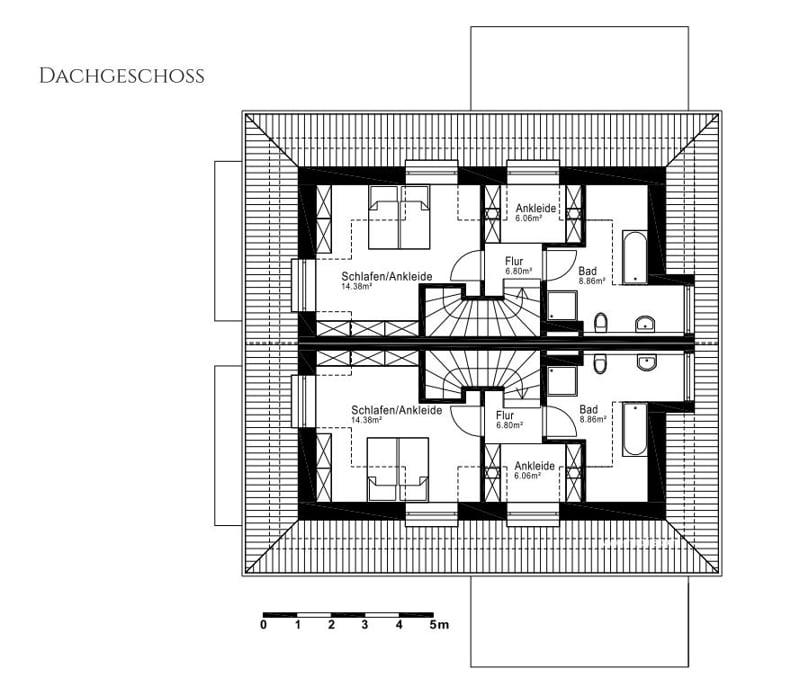 Villenhälfte in klassischer Architektur in bevorzugter Lage in München-Trudering - Grundriss DG
