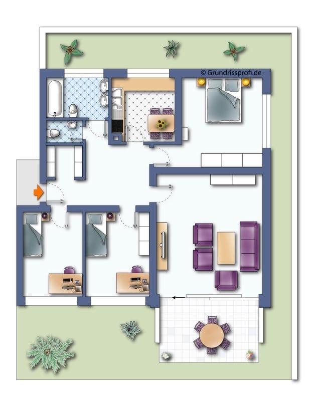 Renovierungsbedürftige 4 Zimmerwohnung mit viel Potential in attraktiver Lage von Ottobrunn - Grundriss