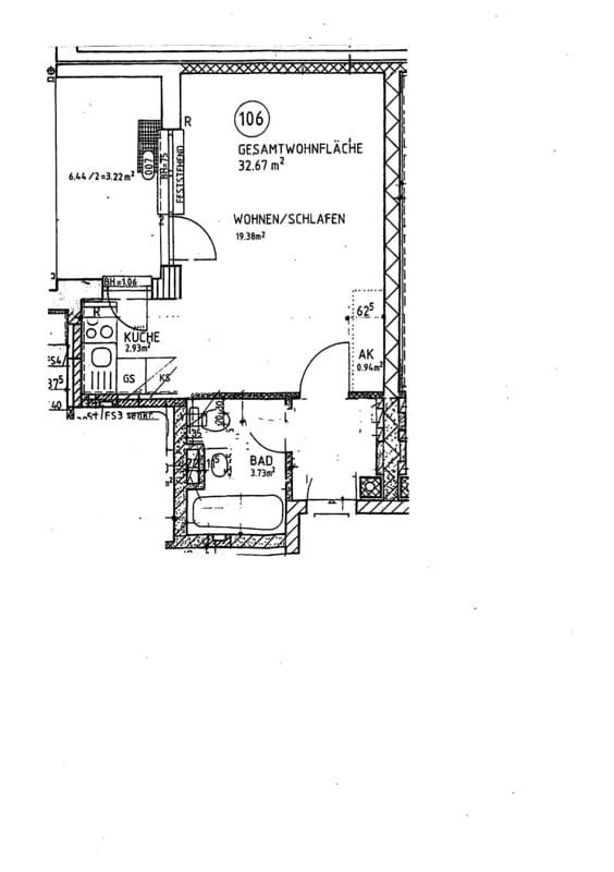 Gemütliches 1 ZKB Apartment mit kleinem Garten in zentraler Lage von Unterhaching - Grundriss