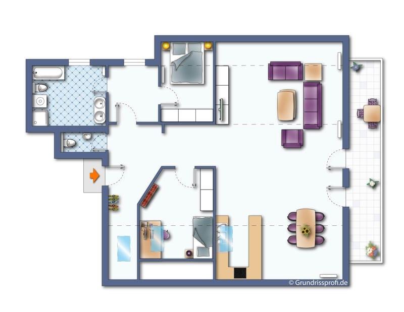 Neu sanierte 3 Zimmer Dachgeschosswohnung in zentraler Lage von Höhenkirchen - Grundriss