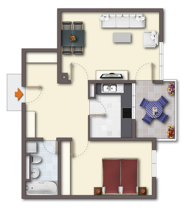 Lichtdurchflutete 2 Zimmerwohnung mit Südbalkon & attraktivem Grundriss in ruhiger Lage von Ottobrunn - Grundriss