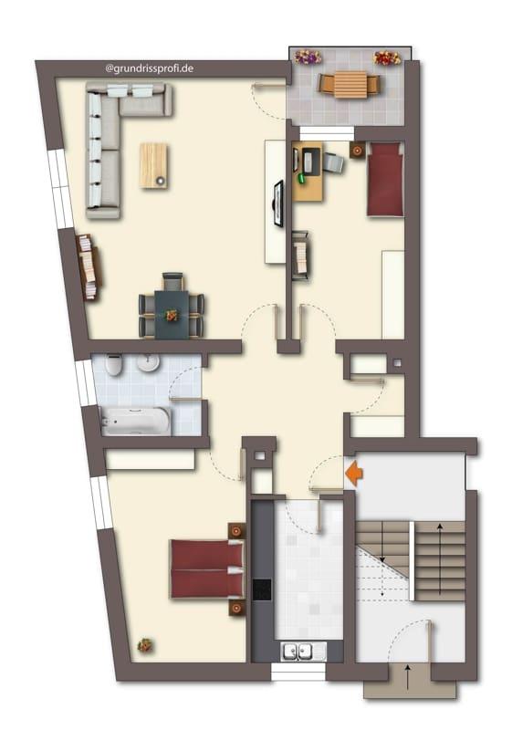 Renovierungsbedürftige 3 ZKB Wohnung mit Südbalkon in ruhiger Lage von Milbertshofen - Grundriss