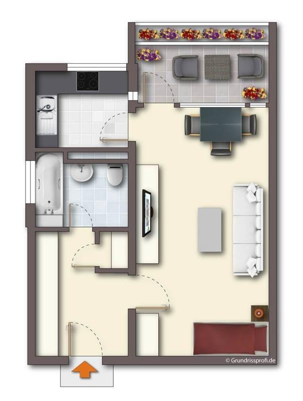 Attraktive, gepflegte 1 Zimmerwohnung mit Balkon in ruhiger Waldrandlage von Ottobrunn - Grundriss