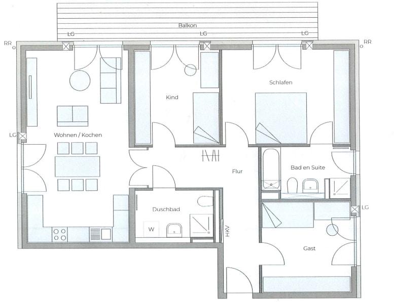 Erstbezug: Nach Westen ausgerichtete ruhige 4 Zimmerwohnung mit 2 Bädern und großem Balkon - Grundriss