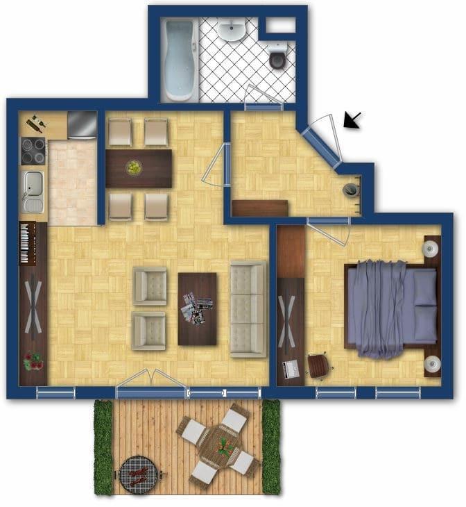 Helle 2 Zimmerwohnung mit großem Südbalkon in ruhiger Lage von Höhenkirchen - Grundriss