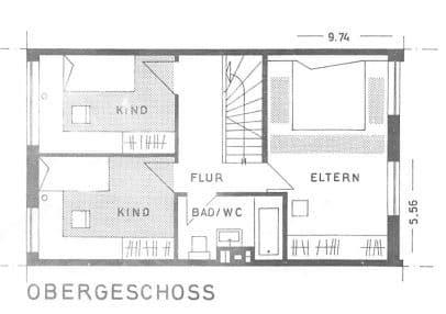Günstig wohnen in einem kleinen, gepflegten RMH in ruhiger Lage von Ebersberg - Grundriss OG