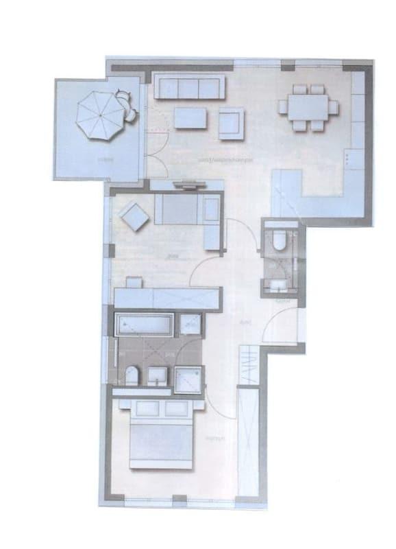 Attraktive, neuwertige 3 Zimmerwohnung mit Südbalkon und Einbauküche in Siegertsbrunn - Grundriss