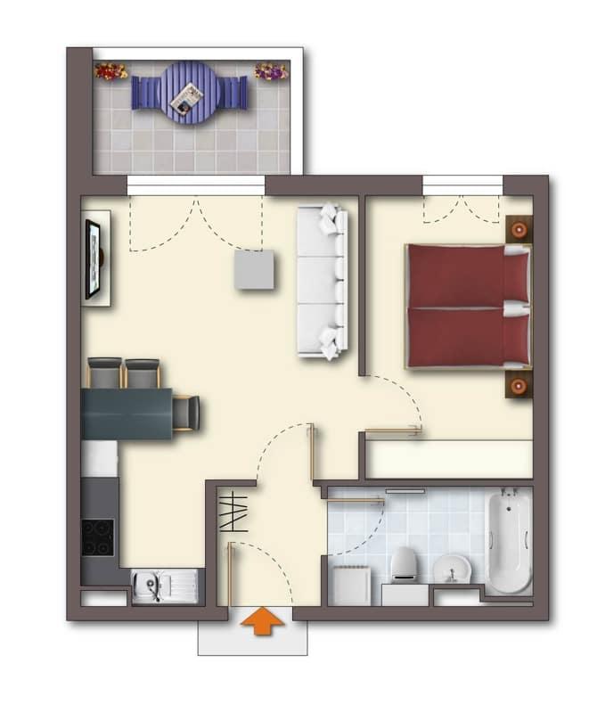 Neuwertige 2 ZKB Wohnung mit Westbalkon in zentraler Lage von Höhenkirchen-Siegertsbrunn - Grundriss