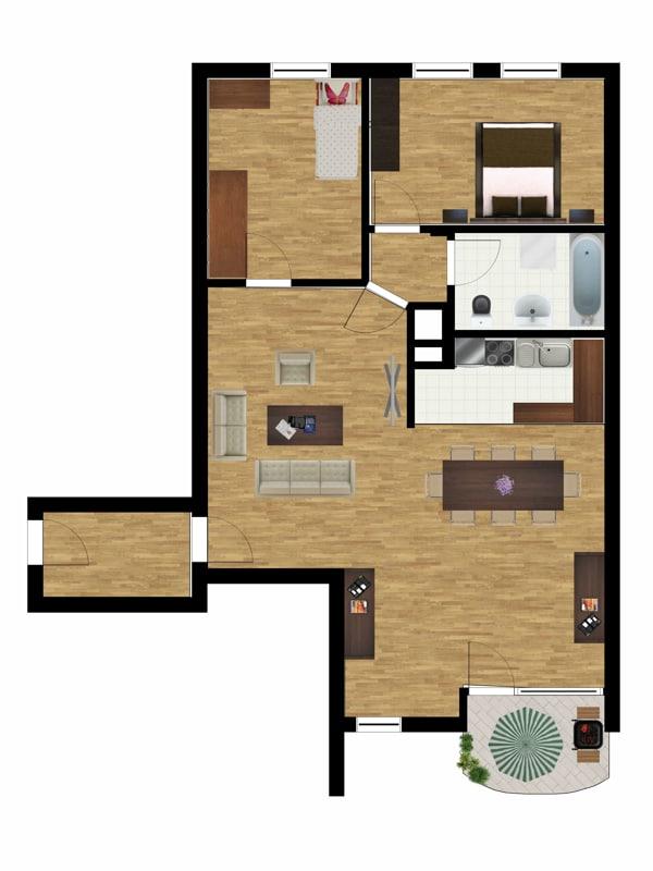 Helle und freundliche 3 Zimmerwohnung in zentraler Lage von Ottobrunn - grundriss_geändert
